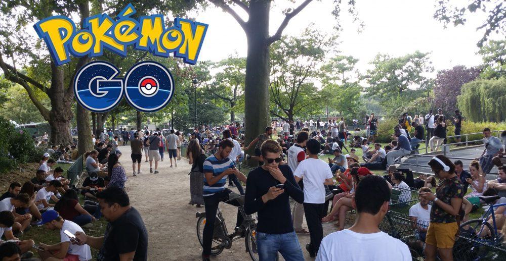 PokemonGo au Champ de Mars, pour sa sortie en France, le 24/0/2016. Crédit photo : Vanessa Lalo